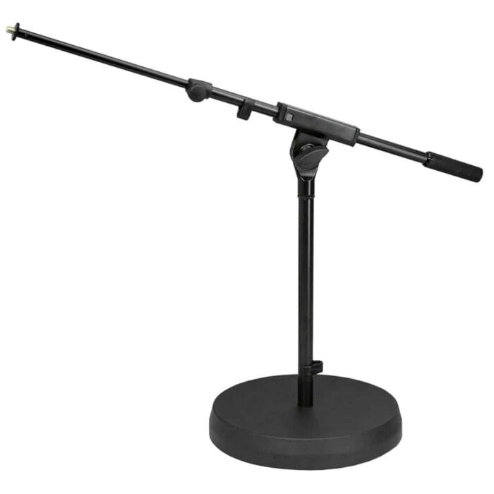 mic-stand-short-boom-round-base-hire